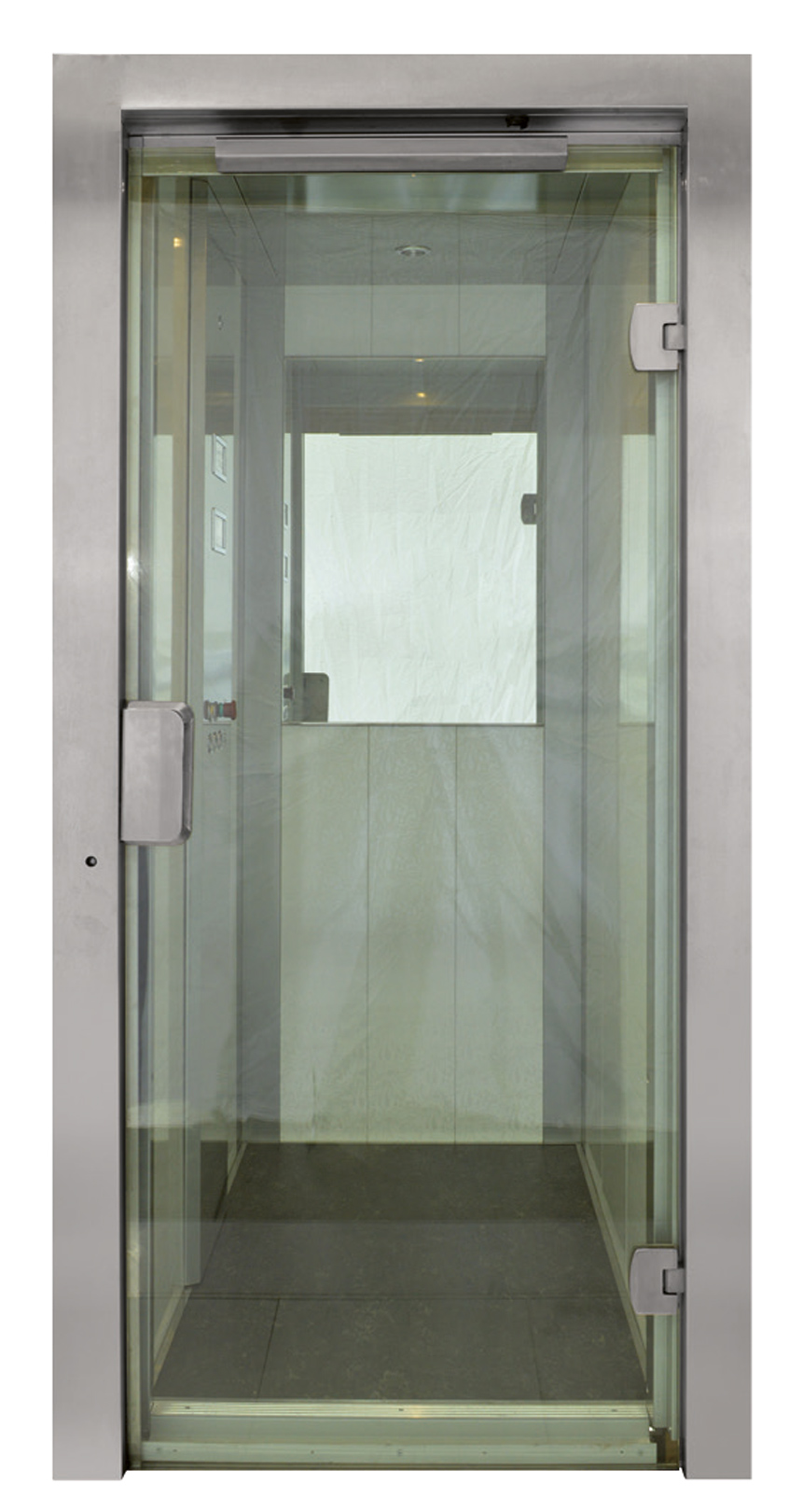 Bright stainless steel Full glass door